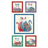 Cat-i-tude Purr fect Together Squares Catitude Cats Quilting Fabric Panel
