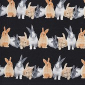 Rabbits Black Quilting Fabric