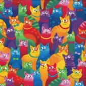 Colourful Rainbow Cats Feline Pet Quilting Fabric