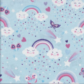 Rainbows and Happy Clouds on Light Blue Butterflies Stars Girls Quilting Fabric