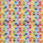 Colourful Triangles on White Rainbow Quilting Fabric