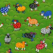 Rainbow Sheep on Green New Zealand Quilting Fabric