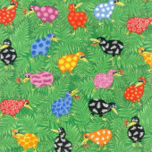 Rainbow Kiwi Birds on Green New Zealand Quilting Fabric