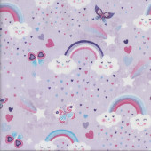 Rainbows and Happy Clouds on Mauve Butterflies Stars Girls Quilting Fabric
