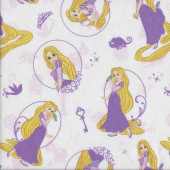 Rapunzel on White Fairy Tale Girls Licensed Quilting Fabric