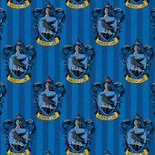 Harry Potter Ravenclaw Badges on Blue Stripe Digitally Printed Licensed Fabric