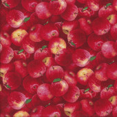 Delicious Red Apples with Green Leaves Quilting Fabric