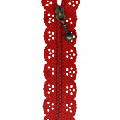 Red Lace Zip Zipper 20cm / 8 Inches
