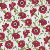 Red Poppies on White Quilting Fabric