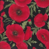 Big Red Poppies on Black Flowers Floral Quilting Fabric