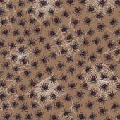 Australian Redback Spiders on Brown Down Under Insect Quilt Fabric
