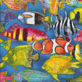 Colourful Reef Fish Quilting Fabric