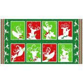 Reindeer Christmas Blocks Snowflakes Quilting Fabric Panel