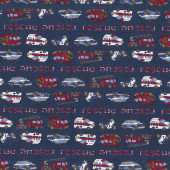 Rescue Vehicles Police Ambulance Fire Engine Boys Kids Quilt Fabric