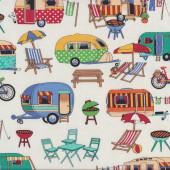 Retro Caravans on White BBQ Outdoors Fabric Remnant 32cm x 112cm