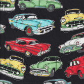 Classic American 50's Cars on Black Boys Mens Quilting Fabric