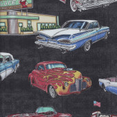 American Retro Classic Cars Diner Drive in on Black Quilting Fabric