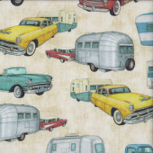 Retro Cars Pickup Trucks Beige Quilting Fabric