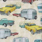 Retro Cars Pickup Trucks Beige Quilting Fabric