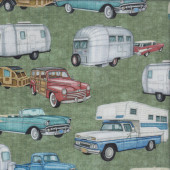 Retro Cars Pickup Trucks Green Quilting Fabric