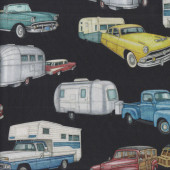 Retro Cars Pickup Trucks Black Quilting Fabric