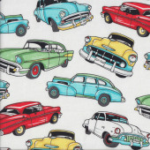 Classic American 50's Cars on White Boys Mens Quilting Fabric