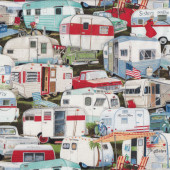 Retro Caravans Quilt Fabric
