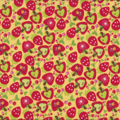 Cute Apple Cherries Strawberries on Yellow Quilting Fabric