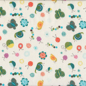 Butterflies Snails Caterpillars Ladybirds on White Quilting Fabric