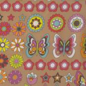 Butterflies on Brown Flowers Stars Nylon Ripstop Waterproof Wipe Clean Fabric