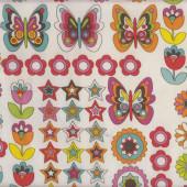 Butterflies on White Flowers Stars Nylon Ripstop Waterproof Wipe Clean Fabric