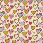 Love Hearts on White Nylon Ripstop Waterproof Wipe Clean Fabric