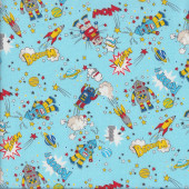 Cosmic Robots on Blue Beep Wow Zoom Kids Fabric