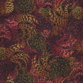 Rooster Feathers Rusty Brown Quilting Fabric