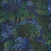 Rooster Feathers Blue Quilting Fabric