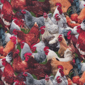 Chickens Hens Roosters on Green Farm Animal Country Bird Quilt Fabric