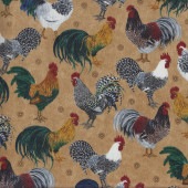 Roosters Chickens on Tan Quilting Fabric