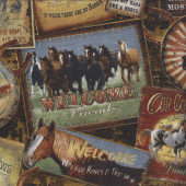 Horses Round Em Up Signs Quilting Fabric