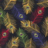 Colourful Peacock Feathers on Black with Gold Metallic Quilting Fabric