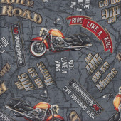 Motorcycles Rule The Road on Grey Quilting Fabric