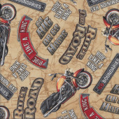 Motorcycles Rule The Road on Tan Quilting Fabric