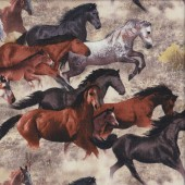 Horses Brown Grey Black Farm Animal Quilting Fabric