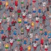 Triathlon People Running on Grey Exercise Runners Sport Quilt Fabric