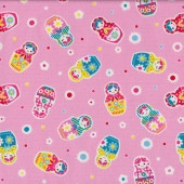Russian Dolls Fabric Remnant Heavier Weight Cotton 36cm x 112cm