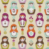Russian Dolls Tan Quilting Fabric