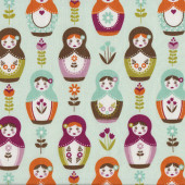 Russian Dolls Green Quilting Fabric