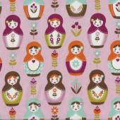 Russian Dolls Pink Quilting Fabric