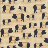 Saddleback Pigs on Beige Farm Animal Quilting Fabric