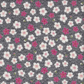 Sakura Flowers on Black and White Quilting Fabric