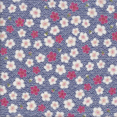 Sakura Flowers on Blue and White Quilting Fabric